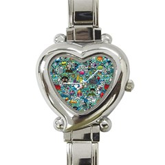 Colorful Drawings Pattern Heart Italian Charm Watch by Nexatart