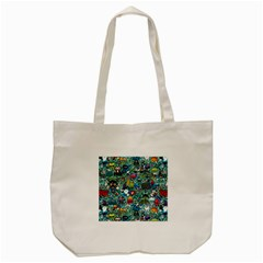 Colorful Drawings Pattern Tote Bag (cream) by Nexatart