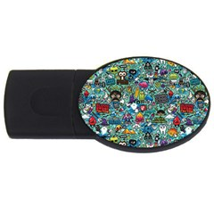 Colorful Drawings Pattern Usb Flash Drive Oval (4 Gb) by Nexatart