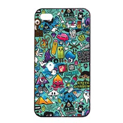 Colorful Drawings Pattern Apple Iphone 4/4s Seamless Case (black)