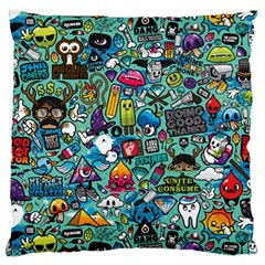 Colorful Drawings Pattern Large Cushion Case (two Sides) by Nexatart