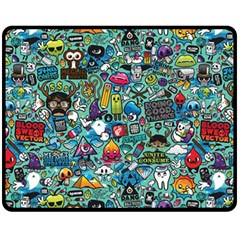Colorful Drawings Pattern Double Sided Fleece Blanket (medium)