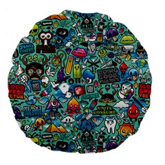 Colorful Drawings Pattern Large 18  Premium Flano Round Cushions by Nexatart