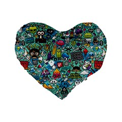 Colorful Drawings Pattern Standard 16  Premium Flano Heart Shape Cushions