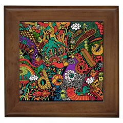 Monsters Colorful Doodle Framed Tiles by Nexatart