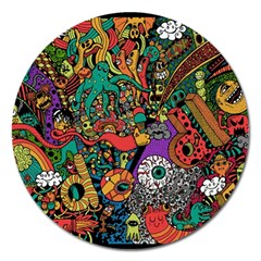Monsters Colorful Doodle Magnet 5  (round) by Nexatart