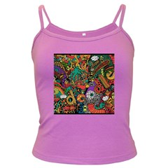 Monsters Colorful Doodle Dark Spaghetti Tank