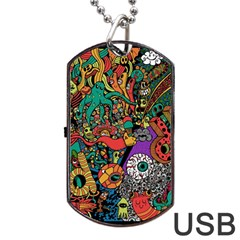 Monsters Colorful Doodle Dog Tag Usb Flash (two Sides) by Nexatart
