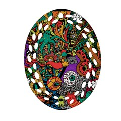 Monsters Colorful Doodle Ornament (oval Filigree)