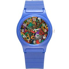 Monsters Colorful Doodle Round Plastic Sport Watch (s) by Nexatart