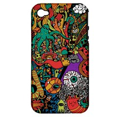 Monsters Colorful Doodle Apple Iphone 4/4s Hardshell Case (pc+silicone)