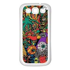 Monsters Colorful Doodle Samsung Galaxy S3 Back Case (white) by Nexatart