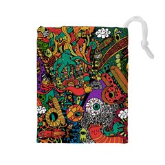 Monsters Colorful Doodle Drawstring Pouches (large)  by Nexatart