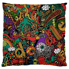 Monsters Colorful Doodle Large Flano Cushion Case (two Sides) by Nexatart