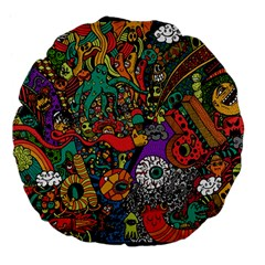 Monsters Colorful Doodle Large 18  Premium Flano Round Cushions by Nexatart