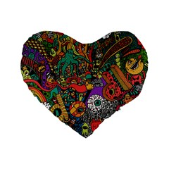 Monsters Colorful Doodle Standard 16  Premium Flano Heart Shape Cushions by Nexatart