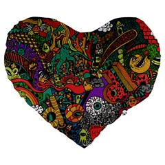Monsters Colorful Doodle Large 19  Premium Flano Heart Shape Cushions by Nexatart