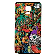 Monsters Colorful Doodle Galaxy Note 4 Back Case by Nexatart