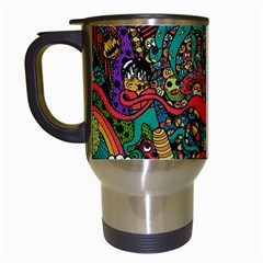 Monsters Colorful Doodle Travel Mugs (white) by Nexatart
