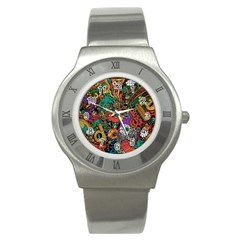 Monsters Colorful Doodle Stainless Steel Watch by Nexatart