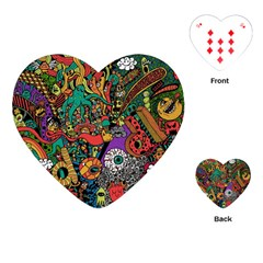 Monsters Colorful Doodle Playing Cards (heart)