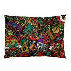 Monsters Colorful Doodle Pillow Case by Nexatart