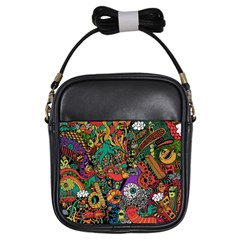 Monsters Colorful Doodle Girls Sling Bags by Nexatart