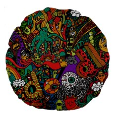 Monsters Colorful Doodle Large 18  Premium Round Cushions