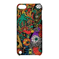 Monsters Colorful Doodle Apple Ipod Touch 5 Hardshell Case With Stand by Nexatart
