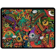 Monsters Colorful Doodle Double Sided Fleece Blanket (large)  by Nexatart