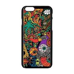 Monsters Colorful Doodle Apple Iphone 6/6s Black Enamel Case by Nexatart