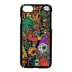 Monsters Colorful Doodle Apple iPhone 7 Seamless Case (Black)