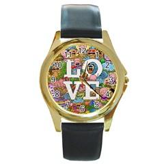 Doodle Art Love Doodles Round Gold Metal Watch by Nexatart