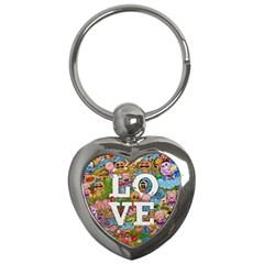 Doodle Art Love Doodles Key Chains (heart)