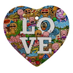 Doodle Art Love Doodles Heart Ornament (two Sides) by Nexatart