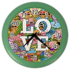 Doodle Art Love Doodles Color Wall Clocks by Nexatart