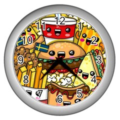 Cute Food Wallpaper Picture Wall Clocks (silver)  by Nexatart