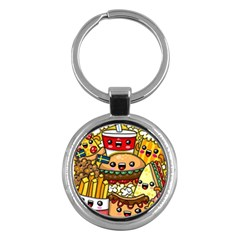 Cute Food Wallpaper Picture Key Chains (round)  by Nexatart