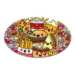 Cute Food Wallpaper Picture Oval Magnet by Nexatart