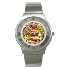 Cute Food Wallpaper Picture Stainless Steel Watch