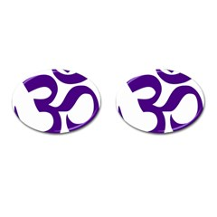 Hindu Om Symbol (purple) Cufflinks (oval) by abbeyz71