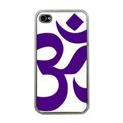 Hindu Om Symbol (purple) Apple Iphone 4 Case (clear) by abbeyz71