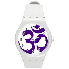 Hindu Om Symbol (purple) Round Plastic Sport Watch (m) by abbeyz71