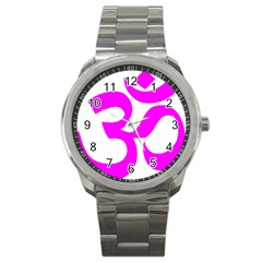 Hindu Om Symbol (magenta) Sport Metal Watch by abbeyz71