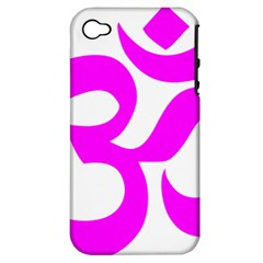 Hindu Om Symbol (magenta) Apple Iphone 4/4s Hardshell Case (pc+silicone) by abbeyz71
