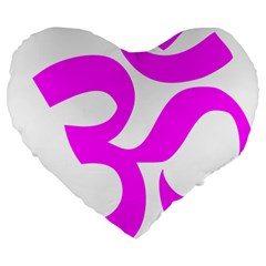 Hindu Om Symbol (magenta) Large 19  Premium Heart Shape Cushions by abbeyz71