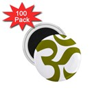Hindi Om Symbol (Olive) 1.75  Magnets (100 pack)  Front