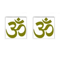 Hindi Om Symbol (olive) Cufflinks (square) by abbeyz71