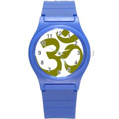 Hindi Om Symbol (olive) Round Plastic Sport Watch (s) by abbeyz71