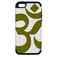Hindi Om Symbol (olive) Apple Iphone 5 Hardshell Case (pc+silicone) by abbeyz71